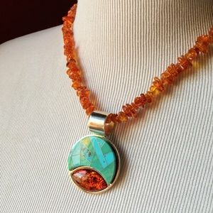 Jay King DTR turquoise amber 925 silver necklace